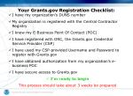 your grants gov registration checklist