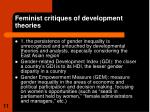 feminist critiques of development theories