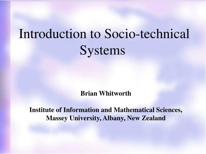 introduction to socio technical systems n.
