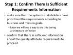step 1 confirm there is sufficient requirements information