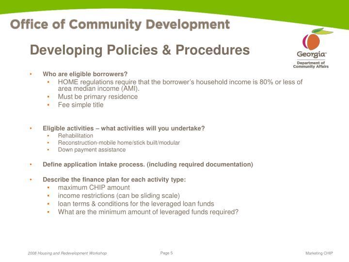 Developing Policies & Procedures
