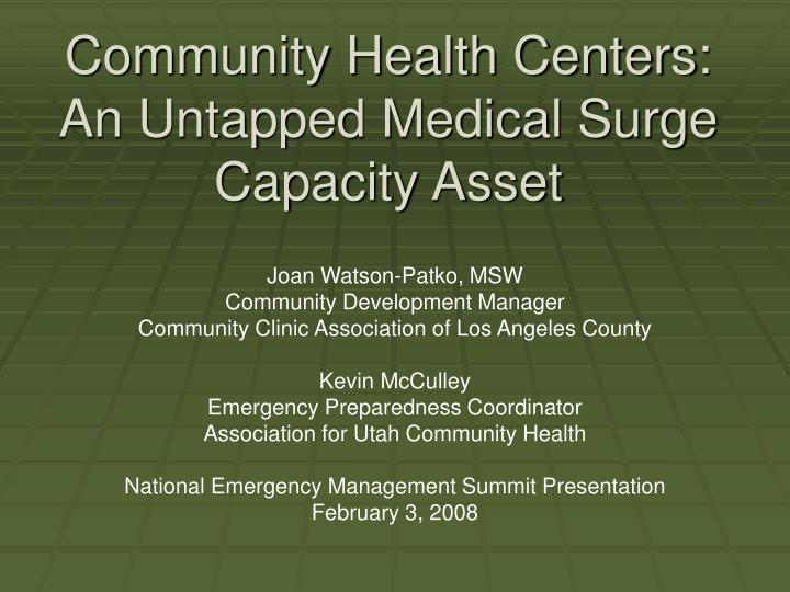 community health centers an untapped medical surge capacity asset n.