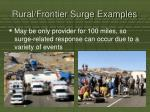 rural frontier surge examples