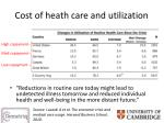 cost of heath care and utilization