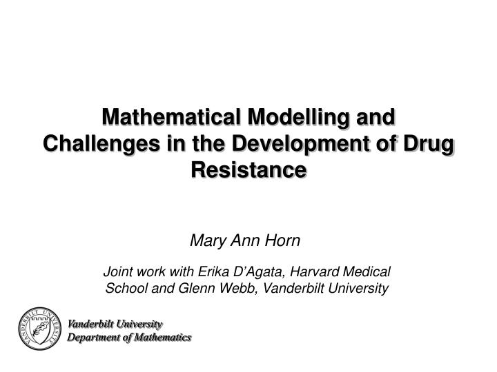 mathematical modelling and challenges in the development of drug resistance n.