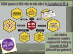 osha proposes ghs rules to take effect in december of 2011