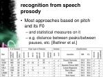 recognition from speech prosody1
