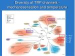 diversity of trp channels mechanosensation and temperature