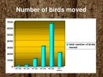 number of birds moved