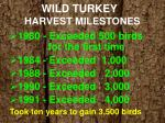 wild turkey harvest milestones