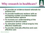why research in healthcare