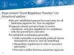 steps toward good regulatory practice 2 structural options