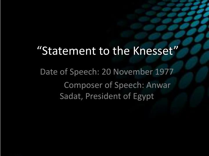 statement to the knesset n.