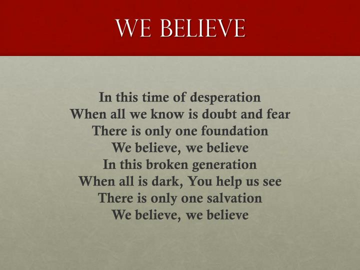 we believe n.