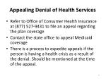 appealing denial of health services