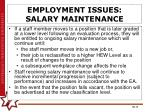 employment issues salary maintenance