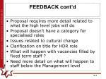 feedback cont d