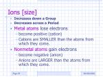 ions size