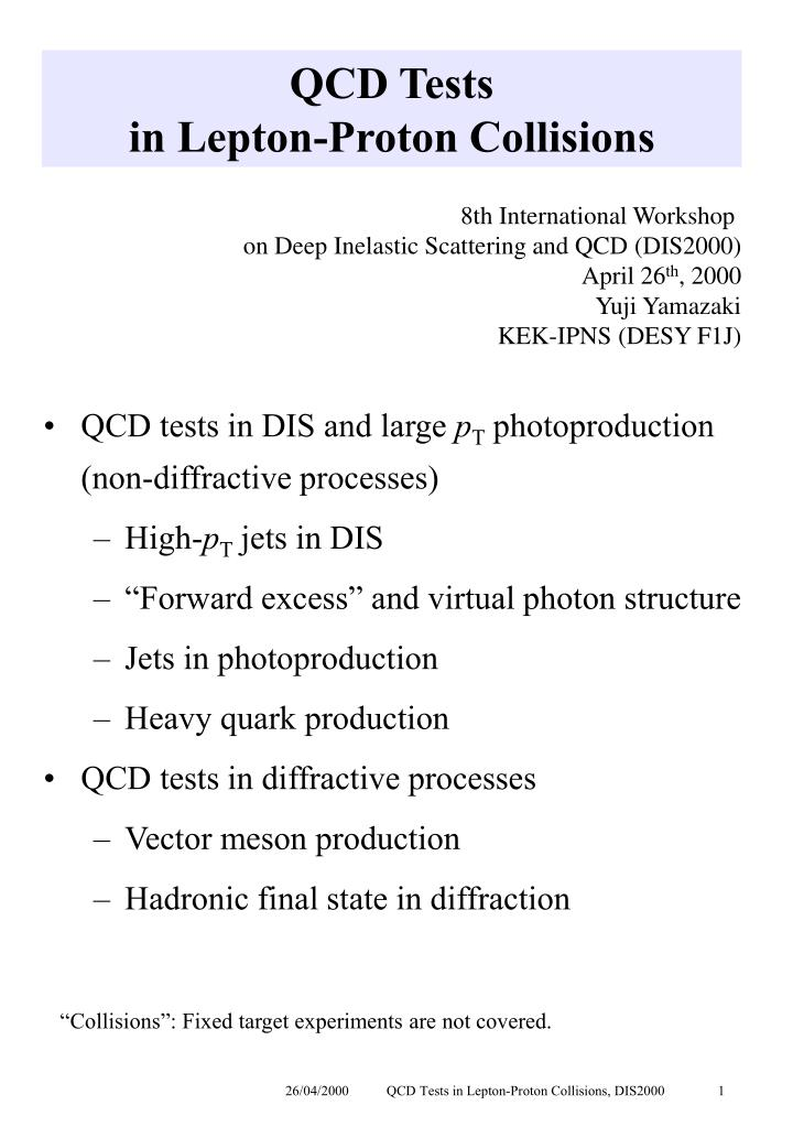 qcd tests in lepton proton collisions n.