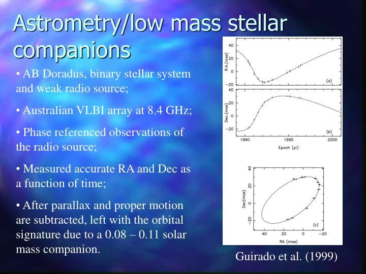 Astrometry/low mass stellar companions