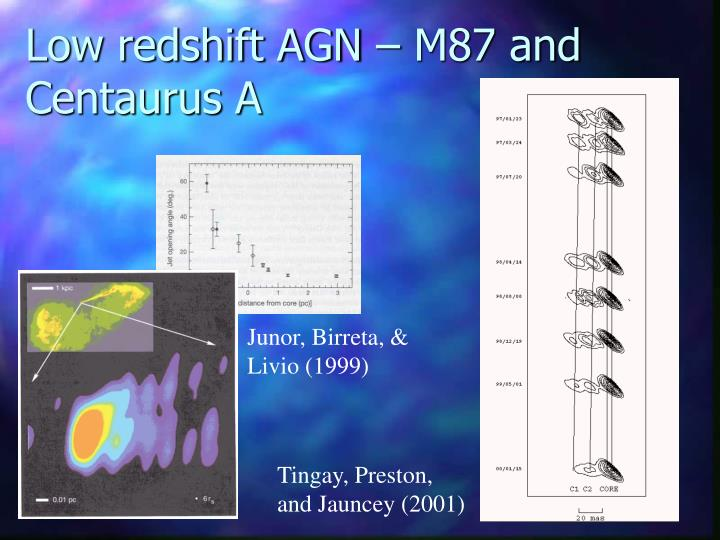 Low redshift AGN – M87 and Centaurus A