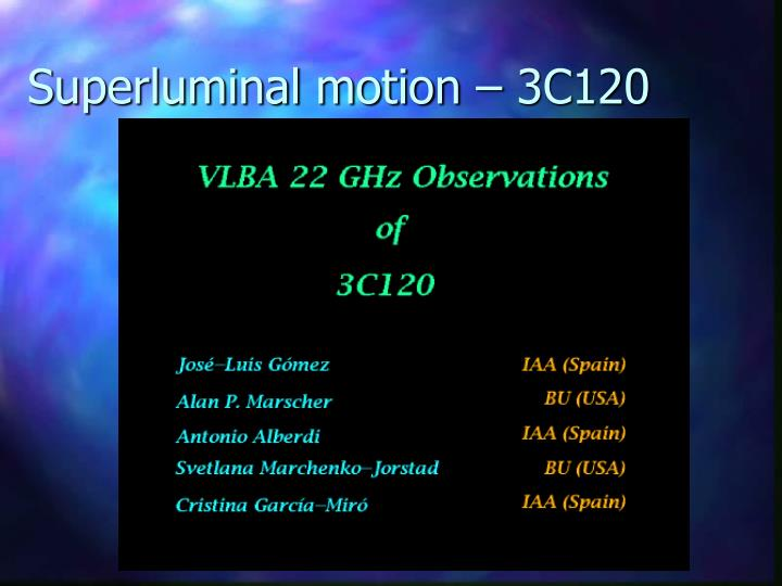 Superluminal motion – 3C120