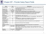 chapter 257 provider salary report fields