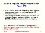 particle physics project prioritization panel p5