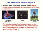 the breadth of particle physics