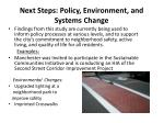next steps policy environment and systems change