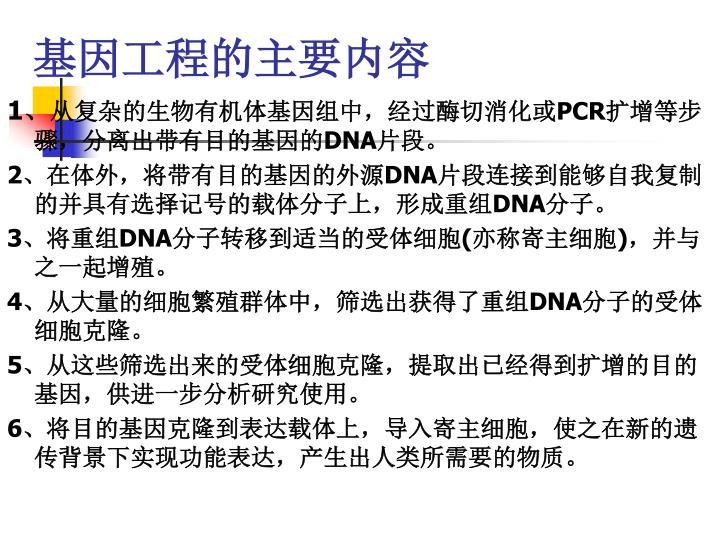 基因工程的主要内容