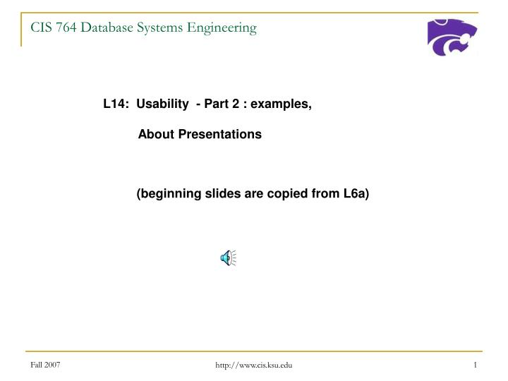 cis 764 database systems engineering n.