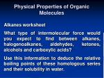 physical properties of organic molecules