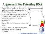 arguments for patenting dna