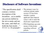 disclosure of software inventions