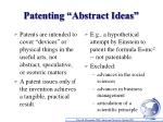 patenting abstract ideas