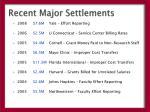 recent major settlements