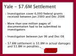 yale 7 6m settlement