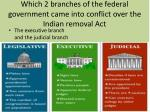 which 2 branches of the federal government came into conflict over the i ndian removal act