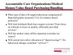 accountable care organizations medical homes value based purchasing bundling13