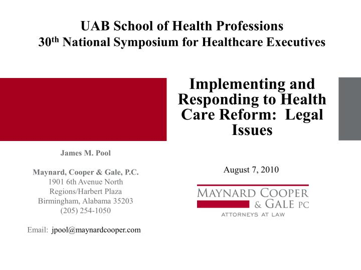 implementing and responding to health care reform legal issues n.
