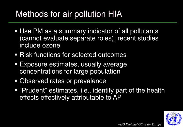Methods for air pollution HIA