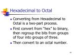 hexadecimal to octal