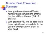 number base conversion summary
