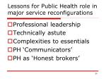 lessons for public health role in major service reconfigurations