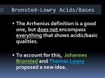 bronsted lowry acids bases