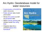 arc hydro geodatabase model for water resources