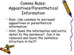 comma rules appositives parenthetical information