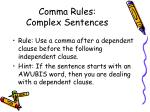 comma rules complex sentences