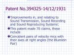 patent no 394325 14 12 1931